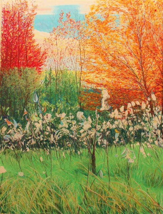 "Autumn Meadow   2014 soft pastel on rag paper 127 x 98 cm (50"" x 38"")"